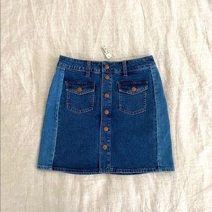 Madewell   Color Block A-Line Denim Skirt